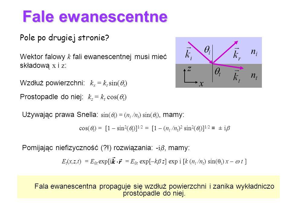cos(qt) = [1 – sin2(qt)]1/2 = [1 – (ni /nt)2 sin2(qi)]1/2 = ± ib